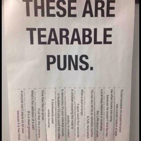 Terrible Tearable Puns