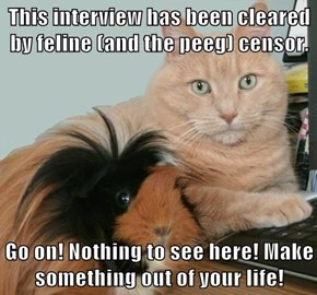 This interview has been cleared by feline (and the peeg) censor.  Go on! Nothing to see here! Make something out of your life!
