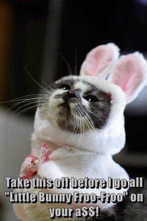 """Take this off before I go all """"Little Bunny Froo-Froo"""" on your a$$!"""