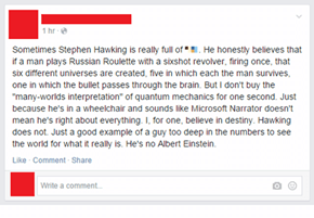 What Has Stephen Hawking Ever Done for US, Hmmm?