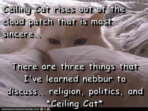 Ceiling Cat rises out of the cloud patch that is most sincere..  There are three things that I've learned nebbur to discuss.. religion, politics, and *Ceiling Cat*