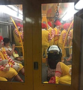 A Bunch of McDonalds on a Subway. The Irony!