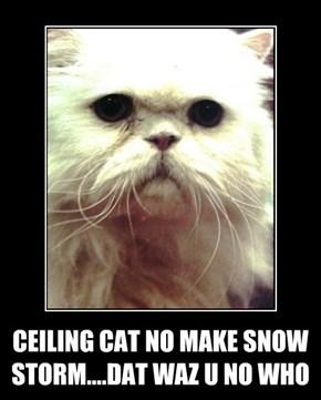 CEILING CAT NO MAKE SNOW STORM....DAT WAZ U NO WHO