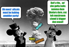 Happy Birfdays to allcatsloved!.. You can always tell when allcats iz thowing a party!.. Luckily no one was hurt an' der wer minimal property damaj..