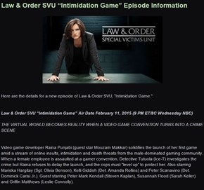Law & Order Will Be Airing an Episode Based on Gamergate