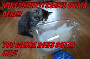 MIKEY!MIKEY! COMES OUTTA DERE!!  YOO GONNA RUNS OUTTA AIR!!
