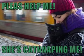 PLEAS HELP ME!  SHE'S CATNNAPING ME!