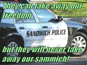 They can take away our freedom  but they will never take away our sammich!