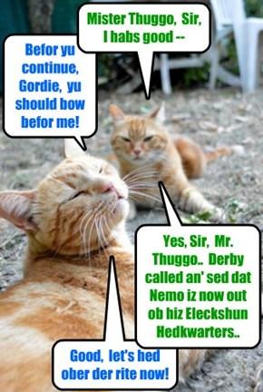 KKPS 2015: Anuther Eleckshun Campain helper minion, Gordie, givs Thuggo som good news that enables Thuggo's mischeffs to go forward! What devilment duz Thuggo hav planned now?!