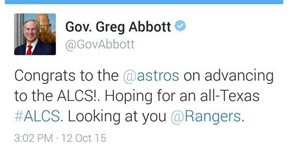 Social Media Fail of the Day: Texas Governor Jinxes Astros With Premature Tweet