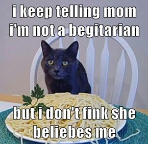 i keep telling mom i'm not a begitarian  but i don't fink she beliebes me