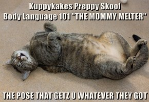 "Kuppykakes Preppy Skool                                   Body Language 101 ""THE MOMMY MELTER""  THE POSE THAT GETZ U WHATEVER THEY GOT"