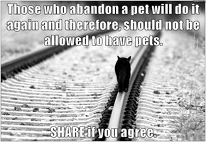 Those who abandon a pet will do it again and therefore, should not be allowed to have pets.  SHARE if you agree.