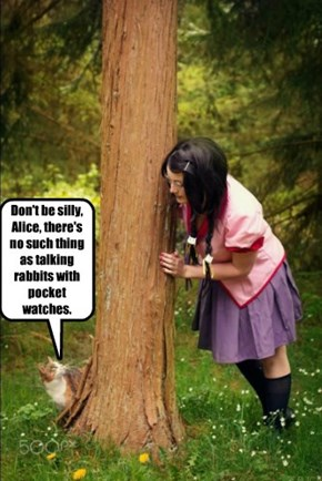 Don't be silly, Alice, there's no such thing as talking rabbits with pocket watches.
