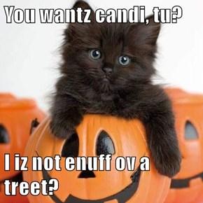 You wantz candi, tu?  I iz not enuff ov a treet?
