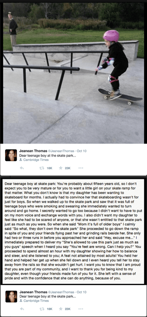This Mother Sent an Open Thank You Tweet to a Local Teen That Showed Her Daughter How to Skateboard