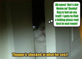 KKPS Fall 2015: As Dooby an' Nemo enter teh Skolars' Sleeping Kwarters, Thuggo takes a peek owt ob hims room an' catches site ob hiz purrsuers!