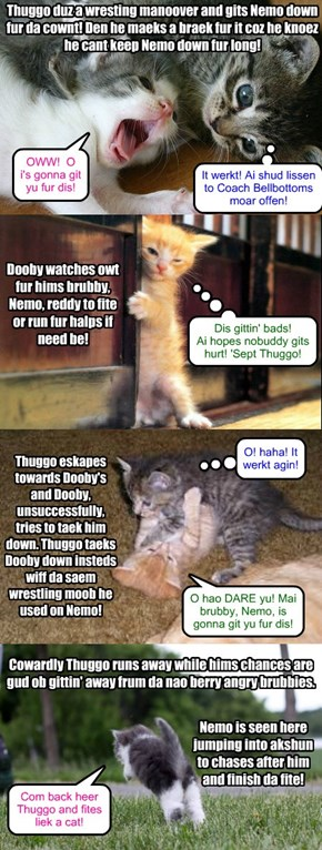 Da fite continues between brubbies Nemo and Dooby wiff Thuggo ober campain shenanigans!
