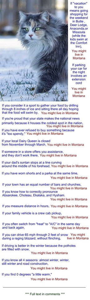 "for mamawalker: ""You might live in Montana"""