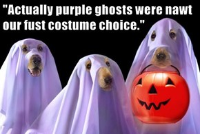 """Actually purple ghosts were nawt our fust costume choice."""