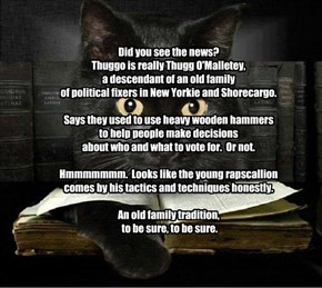 Did you see the news?   Thuggo is really Thugg O'Malletey,  a descendant of an old family  of political fixers in New Yorkie and Shorecargo.  Says they used to use heavy wooden hammers to help people make decisions  about who and what to vote for.  Or not