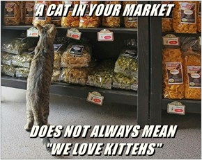 "A CAT IN YOUR MARKET  DOES NOT ALWAYS MEAN                           ""WE LOVE KITTEHS"""