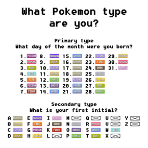 If You Were a Pokémon, What Type Would You Be?
