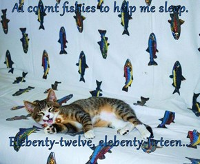 Ai cownt fishies to help me sleep.  Elebenty-twelve, elebenty-firteen...