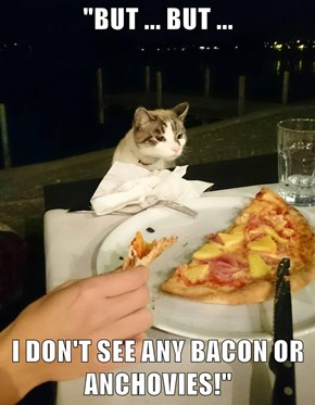"""""""BUT ... BUT ...  I DON'T SEE ANY BACON OR ANCHOVIES!"""""""