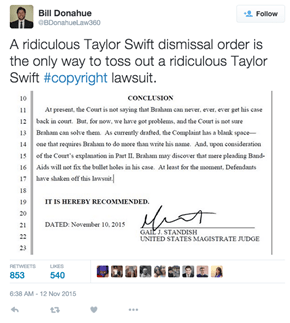 Not In Her Wildest Dreams Did Taylor Swift Think The Judge Would Dismiss Her Copyright Lawsuit Using Her Own Lyrics