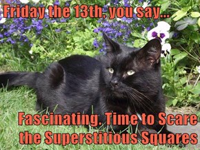 Friday the 13th, you say...  Fascinating. Time to Scare the Superstitious Squares