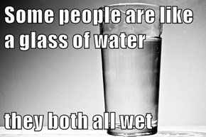 Some people are like a glass of water  they both all wet