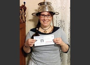 Religious Freedom of the Day: A Woman Wore a Colander in Her Driver's License Photo to Express Her Pastafarian Beliefs