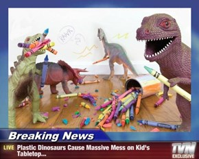 Breaking News - Plastic Dinosaurs Cause Massive Mess on Kid's Tabletop...