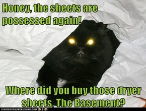Honey, the sheets are possessed again!   Where did you buy those dryer sheets, The Basement?