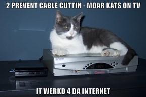 2 PREVENT CABLE CUTTIN - MOAR KATS ON TV  IT WERKD 4 DA INTERNET