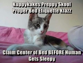Kuppykakes Preppy Skool                                   Proper Bed Etiquette Klazz  Claim Center of Bed BEFORE Human Gets Sleepy