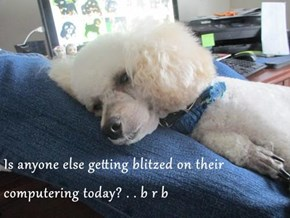 Is anyone else getting blitzed on their computering today? . . b r b