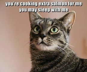 you're cooking extra salmon for me you may sleep with me