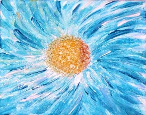 "My painting ""Blue Impasto Daisy"""