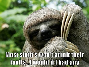 Most sloth's won't admit their faults...I would if I had any