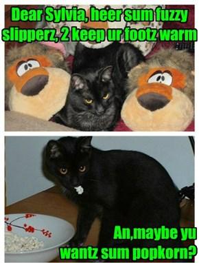 Dear Sylvia, heer sum fuzzy slipperz, 2 keep ur footz warm