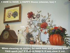 ♥ HOW to HAVE  a HAPPY House (cleaner, too) ♥                              LoL When cleaning up clutter, for each item ask yourself, does THIS spark joy? If it does, keep it. If not, clear it out.