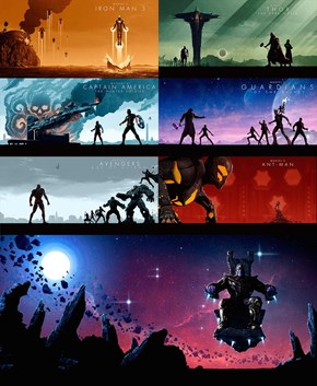 Marvel Superhero Movie Artwork Compilation