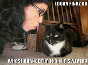 I DOAN FINKZ SO  WHOSE ORANGE FUR IZ ON UR SWEATR?