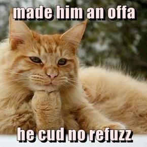made him an offa   he cud no refuzz