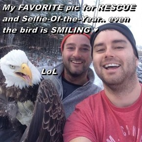 My FAVORITE pic for RESCUE and Selfie-Of-the-Year.. even the bird is SMILING ♥               LoL