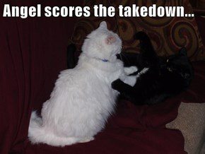 Angel scores the takedown...
