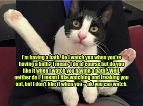 I'm having a bath. Do I watch you when you're having a bath? I mean- I do of course,but do you like it when I watch you having a bath? Well, neither do I. I mean I like watching and freaking you out, but I don't like it when you -- ok, you can watch.