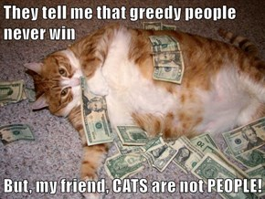 They tell me that greedy people never win  But, my friend, CATS are not PEOPLE!